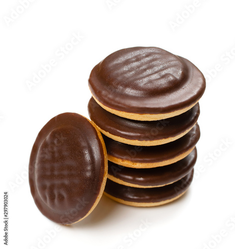 Fototapeta Round chocolate jaffa cake or biscuit cookie filled with natural jam obraz
