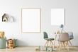 Leinwanddruck Bild - Frame & Poster mock up in living room. Scandinavian interior. 3d rendering, 3d illustration