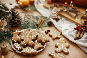 Christmas gingerbread cookies on vintage plate and anise, cinnamon, pine cones, cedar branches  with golden lights on rustic table. Baked traditional gingerbread man, tree, star cookies