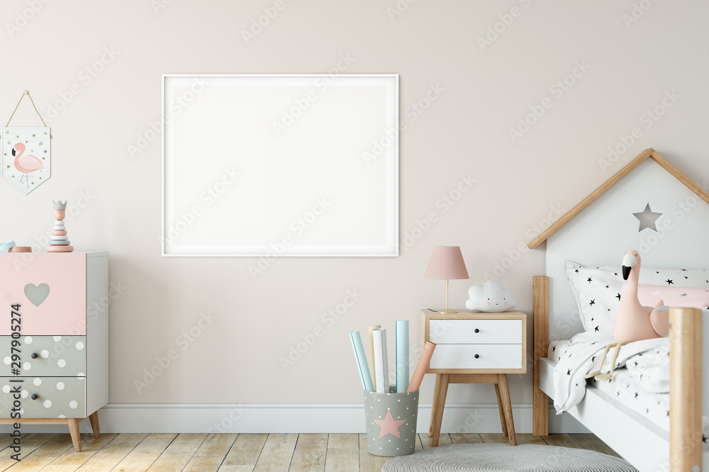 Fototapety, obrazy: Frame & Poster mock up in living room. Scandinavian interior. 3d rendering, 3d illustration