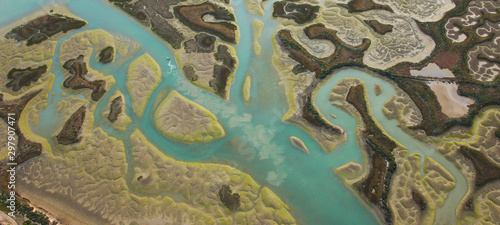 Odiel river, Aerial view, marshlands, Bahia de Cadiz Natural Park Wallpaper Mural
