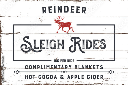 Fotomural  Reindeer Sleigh Rides Sign with Shiplap Design