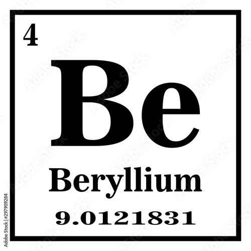Periodic Table of Elements - Beryllium Vector illustration eps 10 Canvas Print