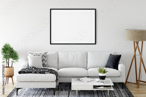 Obraz Frame & Poster mock up in living room. Scandinavian interior. 3d rendering, 3d illustration - fototapety do salonu