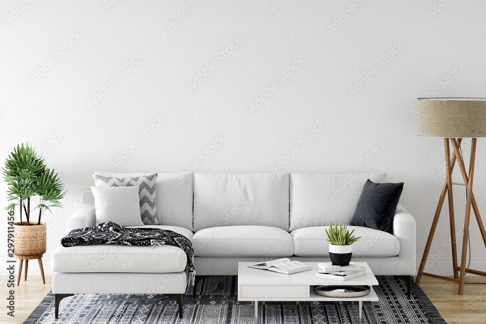 Fototapety, obrazy: Wall mock up in living room. Scandinavian interior. 3d rendering, 3d illustration