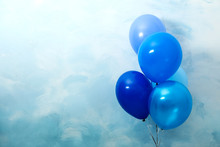 Bunch Of Balloons On Light Blue Background, Space For Text. Greeting Card