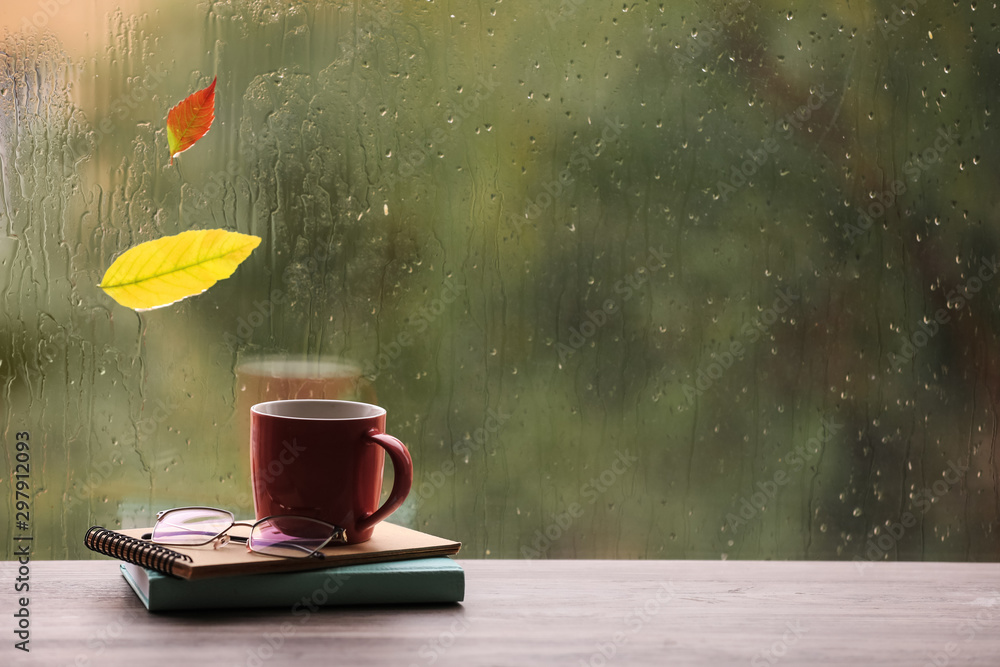 Fototapety, obrazy: Composition with cup of drink and autumn leaf on windowsill, space for text. Rainy weather