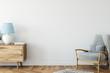 Leinwanddruck Bild - Wall mock up in living room. Scandinavian interior. 3d rendering, 3d illustration