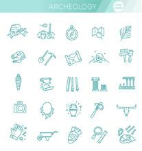 Archeology Line Icons Set. Arc...