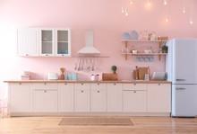 Stylish Pink Kitchen Interior ...