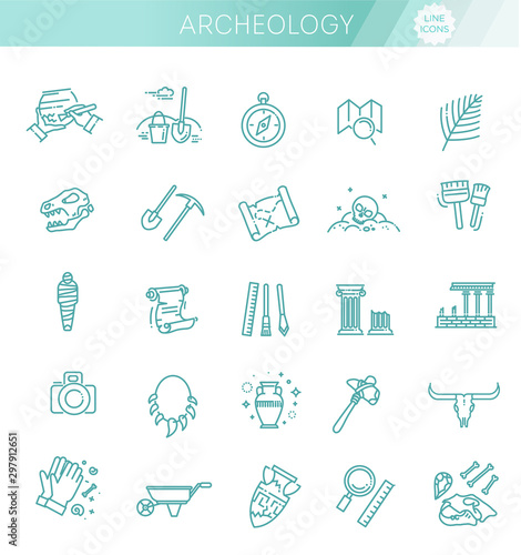 Photo archeology line icons set. Archeology collection
