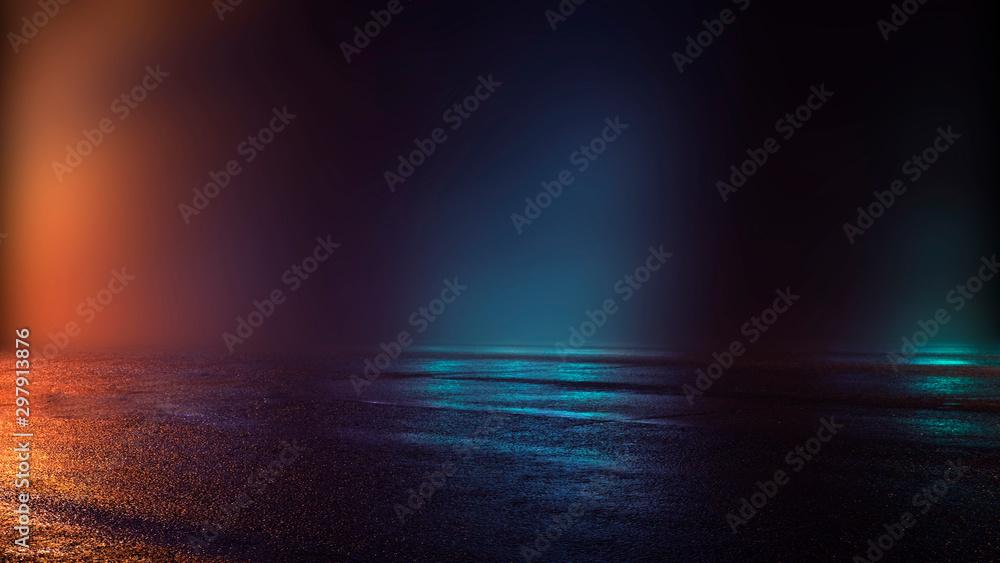 Fototapety, obrazy: Empty studio room. Dark background. Abstract dark empty studio room texture.  Product showcase spotlight background.