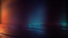 Empty Studio Room. Dark Background. Abstract Dark Empty Studio Room Texture.  Product Showcase Spotlight Background.