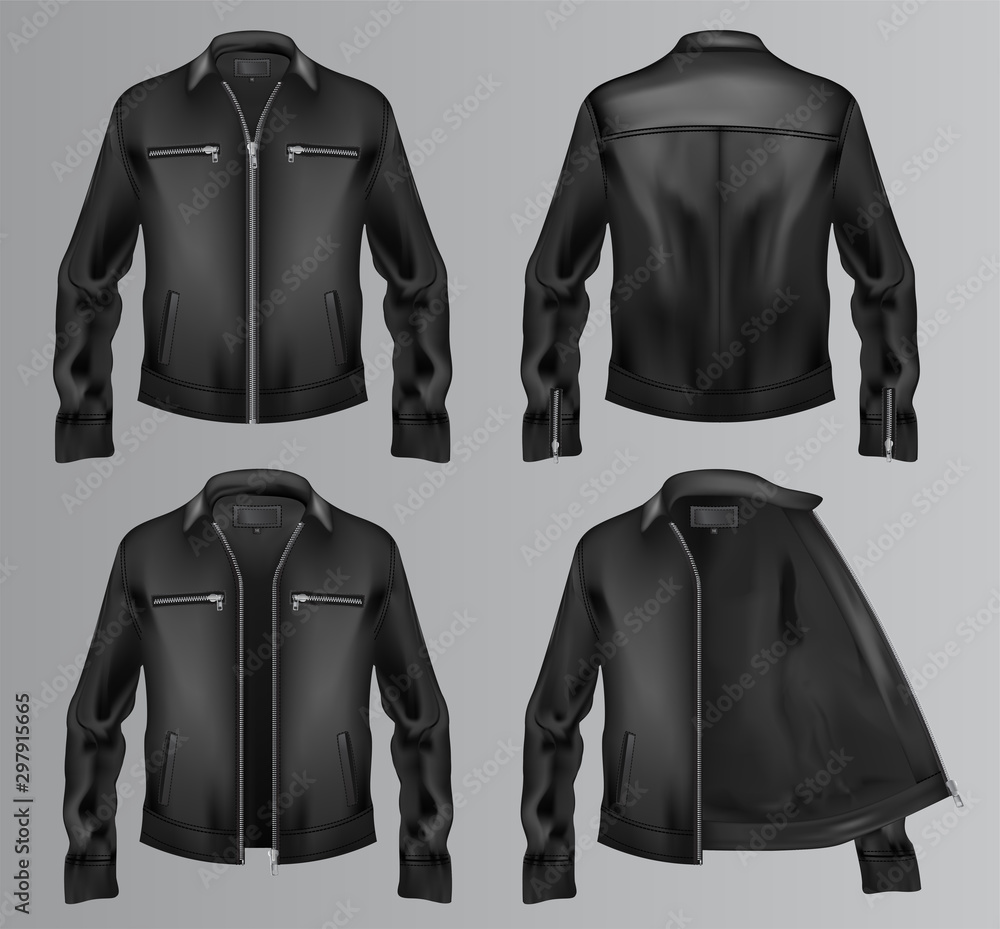 Fototapeta Black fur jacket vector. Four different views