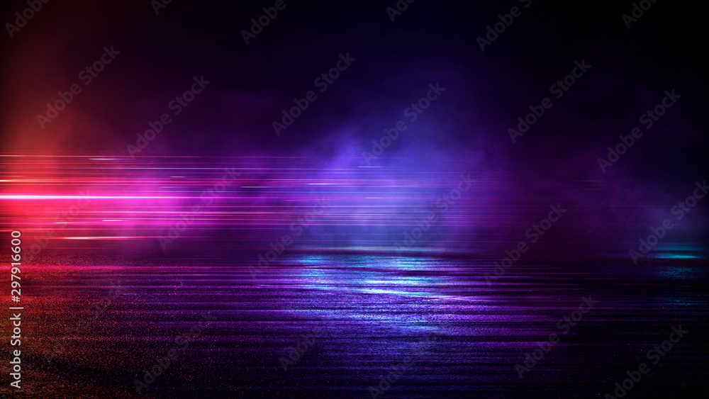 Fototapety, obrazy: Wet asphalt, night view, neon reflection on the concrete floor. Night empty stage, studio. Dark abstract background. Product Showcase Spotlight Background.