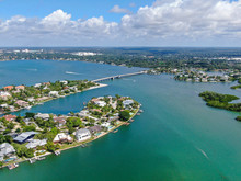Aerial View Of Siesta Key, Barrier Island In The Gulf Of Mexico, Coast Of Sarasota, Florida. USA.