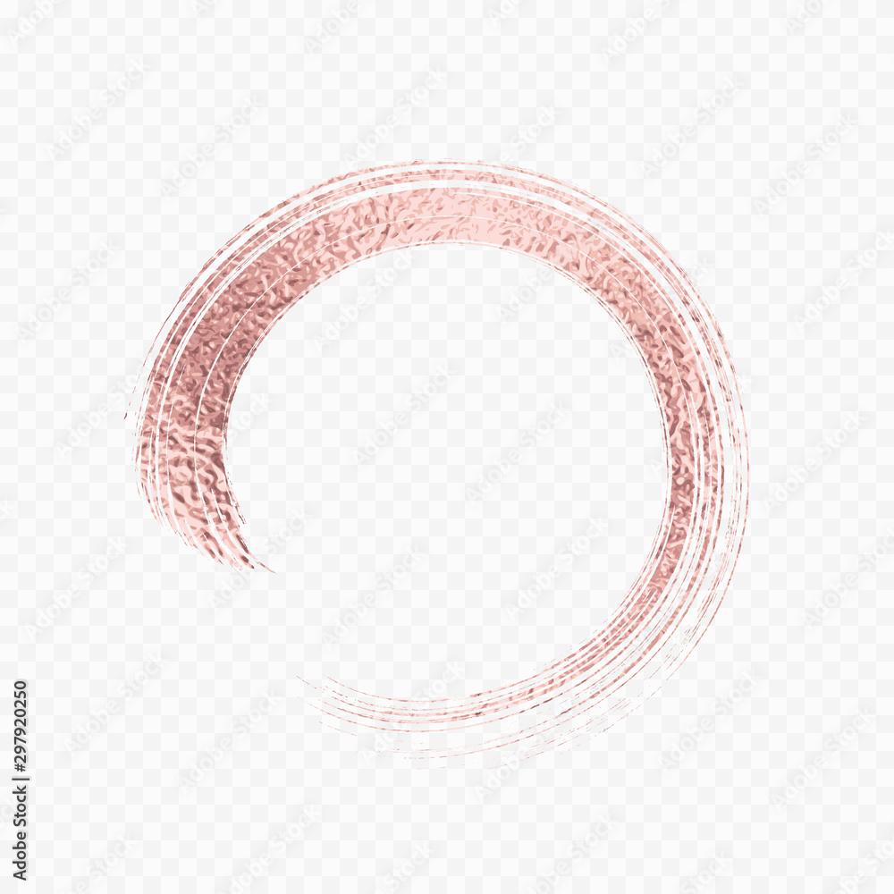 Fototapety, obrazy: Gold rose metal brush stroke. Pink circle frame isolated on transparent background. Vector golden glitter mascara brushstroke.