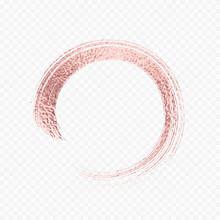 Gold Rose Metal Brush Stroke. Pink Circle Frame Isolated On Transparent Background. Vector Golden Glitter Mascara Brushstroke.