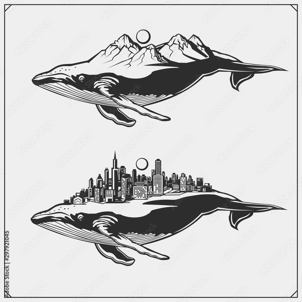 Vector illustration and silhouettes of beautiful fairy fantastic whales. Ecology emblems design.