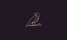 Line Art Raven Logo Design