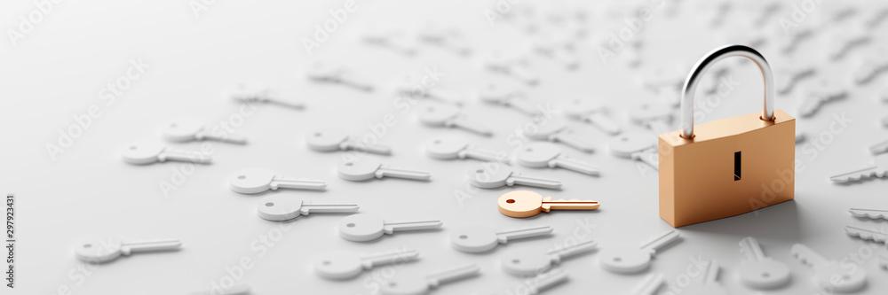 Fototapeta Padlock with infinite keys, metaphor of problems, solutions  and risk management; original 3d rendering