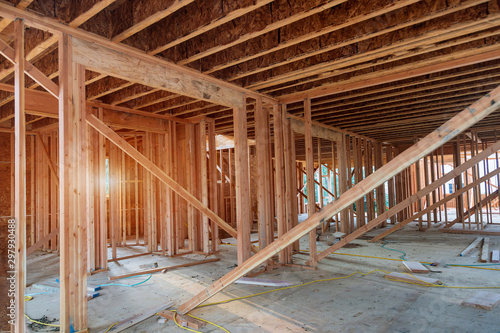 New construction of beam construction house framed the ground up Canvas Print