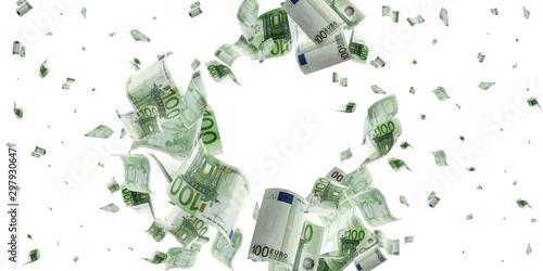 Pinturas sobre lienzo  Euro coin falling banknotes
