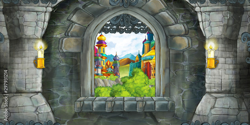 Cartoon scene of medieval castle interior with window with view on some other...