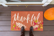 """canvas print picture - Welcome mat with the word """"Thankful"""" on front doorstep"""