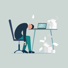 Professional Burnout Syndrome. Exhausted Sick Tired Male Manager In Office Sad Boring Sitting With Head Down On Laptop. Frustrated Worker Mental Health Problems. Vector Long Work Day Illustration