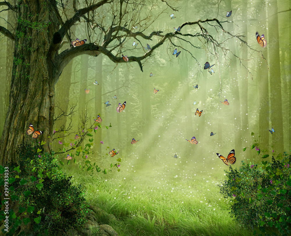 Magic forest. Photomanipulation. 3D rendering.