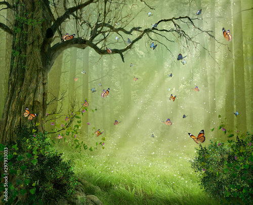 Poster Spring Magic forest. Photomanipulation. 3D rendering.