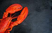 Steamed Lobster Seafood On Bla...