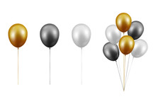 Vector Realistic Glossy Metallic Gold, Black, White Balloon Set Closeup Isolated On White Background. Bunch, Group. Design Template Of Translucent Helium Baloons, Mockup, Anniversary, Birthday Party