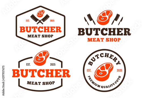 Fotomural Set of retro styled butchery logo for groceries, meat stores, packaging and adve