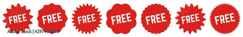 Fotomural  Free Tag Red | Special Offer Icon | Sticker | Deal Label | Variations