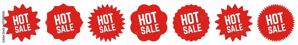 Fototapeta Hot Sale Tag Red | Special Offer Icon | Sticker | Deal Label | Variations