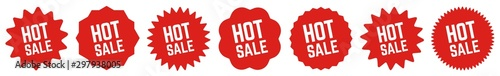 Valokuva Hot Sale Tag Red | Special Offer Icon | Sticker | Deal Label | Variations