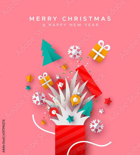 Christmas New Year holiday paper cut gift box card Obraz na płótnie