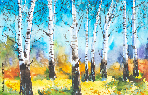 Russian forest landscape with beautiful birches in a clearing Canvas Print