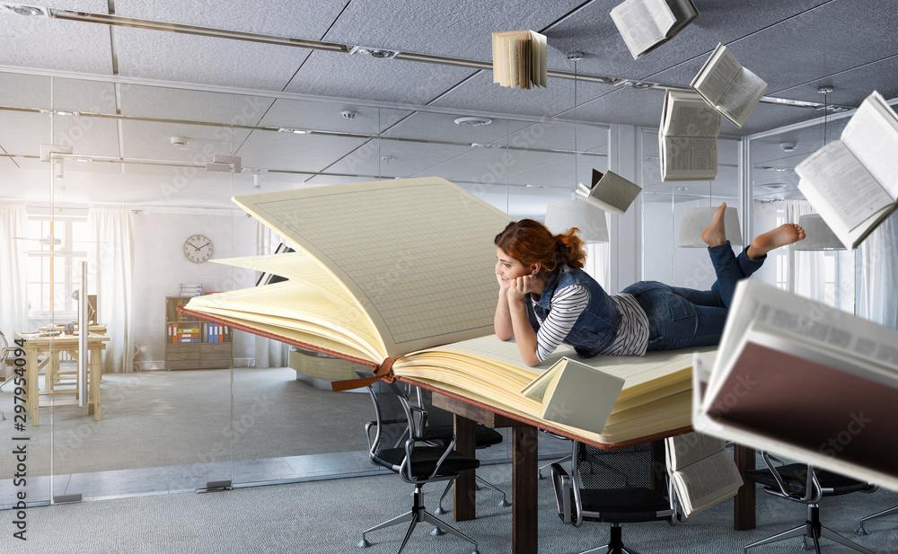 Fototapety, obrazy: When reading takes you away. Mixed media