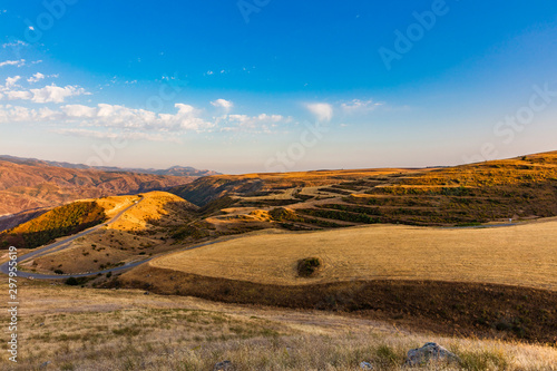landscape panorama near Kornidzor in the caucasus mountain landmark of Artsakh Nagorno-Karabakh Armenia eastern Europe