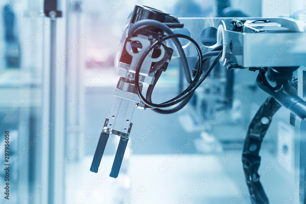 Fototapeta robotic machine tool in industrial manufacture factory,Smart factory industry 4.0 concept.