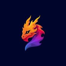 Mythological Animal Dragon Colorful Mascot Logo Vector Template