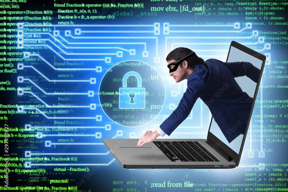 Fototapeta Hacker man trying to steal personal data