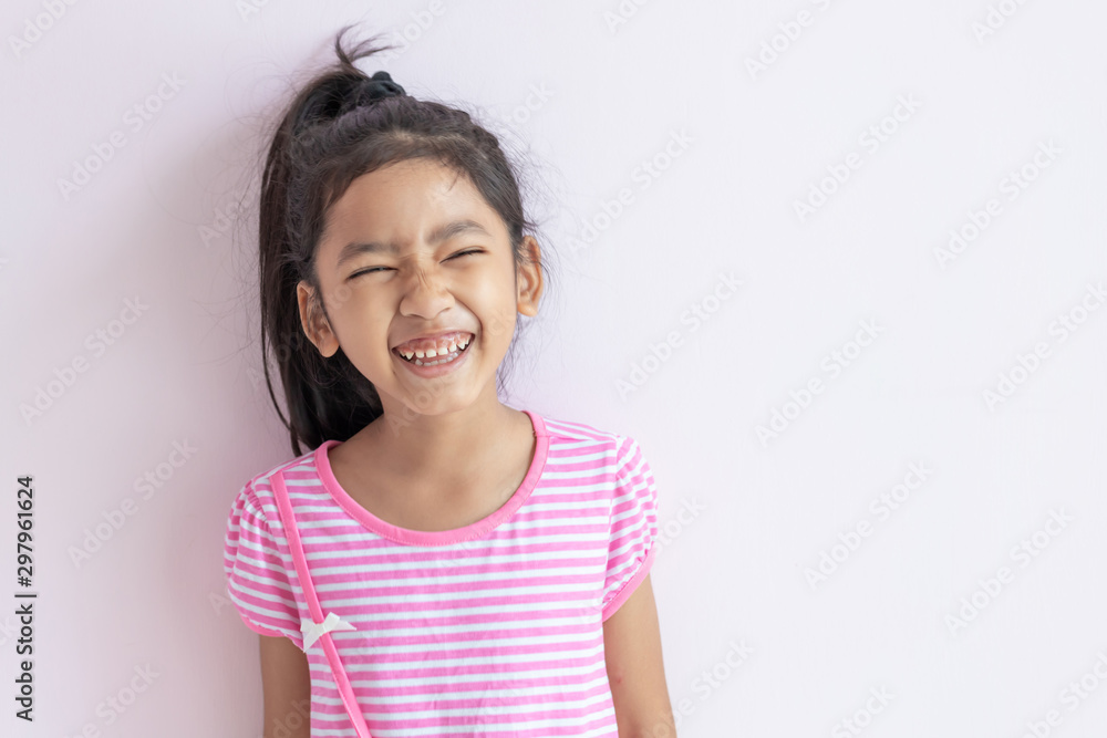 Fototapety, obrazy: The child laughing and smiling with happiness.