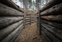 Wooden Trench In The Forest F ...