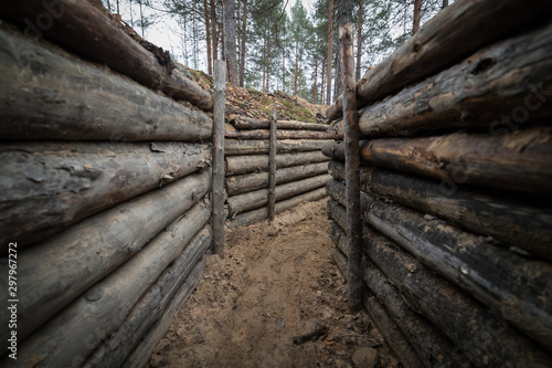 Fotografía Wooden trench in the forest f World War II