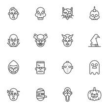 Halloween Mask Line Icons Set....