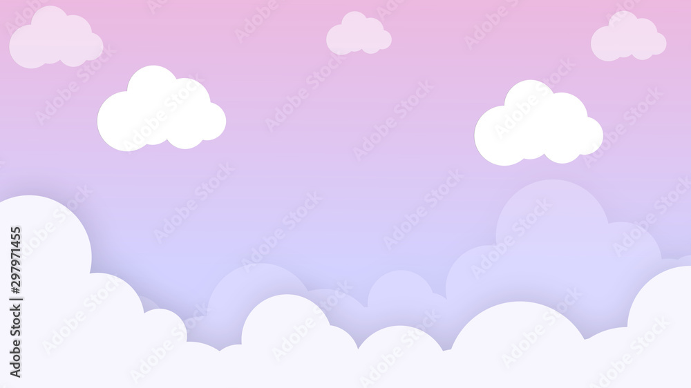 Clouds cartoon on blue sky, background. Concept for children and kindergartens or presentation